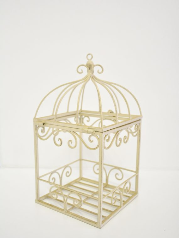 Antique White Open Bird Cage Small